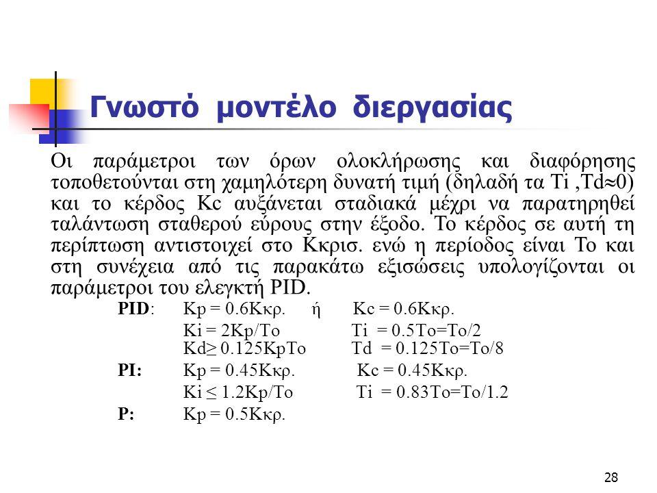 28 Γνωστό μοντέλο διεργασίας PID: Kp = 0.6Kκρ. ή Κc = 0.6Kκρ. Ki = 2Kp/To Τi = 0.5To=To/2 Kd≥ 0.125KpTo Td = 0.125To=To/8 PI: Kp = 0.45Kκρ. Κc = 0.45K