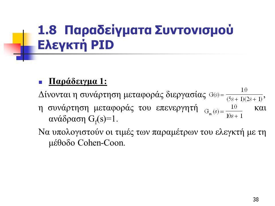 38 1.8 Παραδείγματα Συντονισμού Ελεγκτή PID  Παράδειγμα 1: Δίνονται η συνάρτηση μεταφοράς διεργασίας, η συνάρτηση μεταφοράς του επενεργητή και ανάδρα