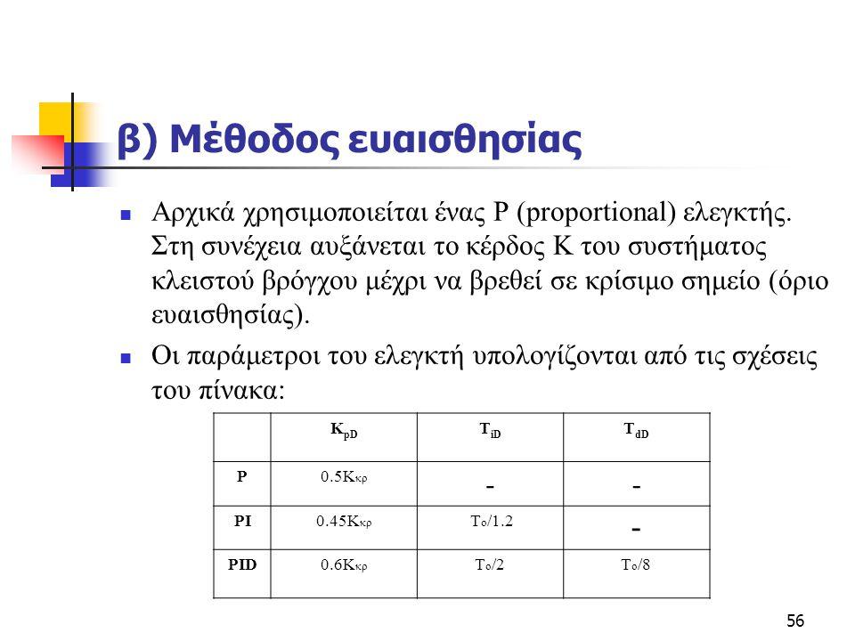 56 β) Μέθοδος ευαισθησίας  Αρχικά χρησιμοποιείται ένας P (proportional) ελεγκτής. Στη συνέχεια αυξάνεται το κέρδος Κ του συστήματος κλειστού βρόγχου