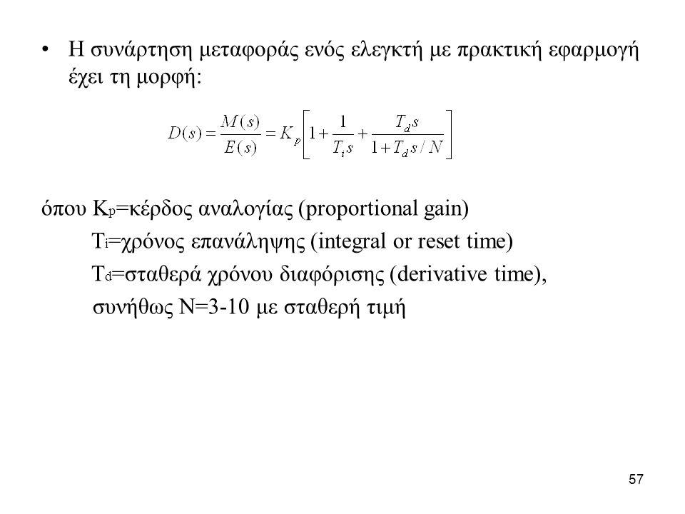 57 •Η συνάρτηση μεταφοράς ενός ελεγκτή με πρακτική εφαρμογή έχει τη μορφή: όπου Κ p =κέρδος αναλογίας (proportional gain) T i =χρόνος επανάληψης (inte