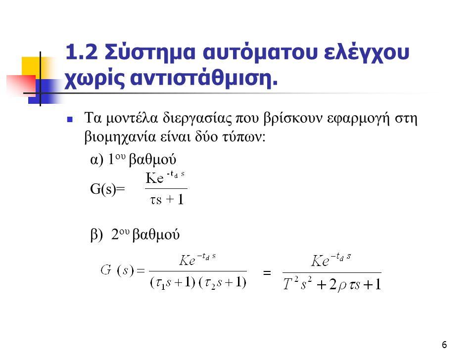 6 1.2 Σύστημα αυτόματου ελέγχου χωρίς αντιστάθμιση.  Τα μοντέλα διεργασίας που βρίσκουν εφαρμογή στη βιομηχανία είναι δύο τύπων: α) 1 ου βαθμού G(s)=