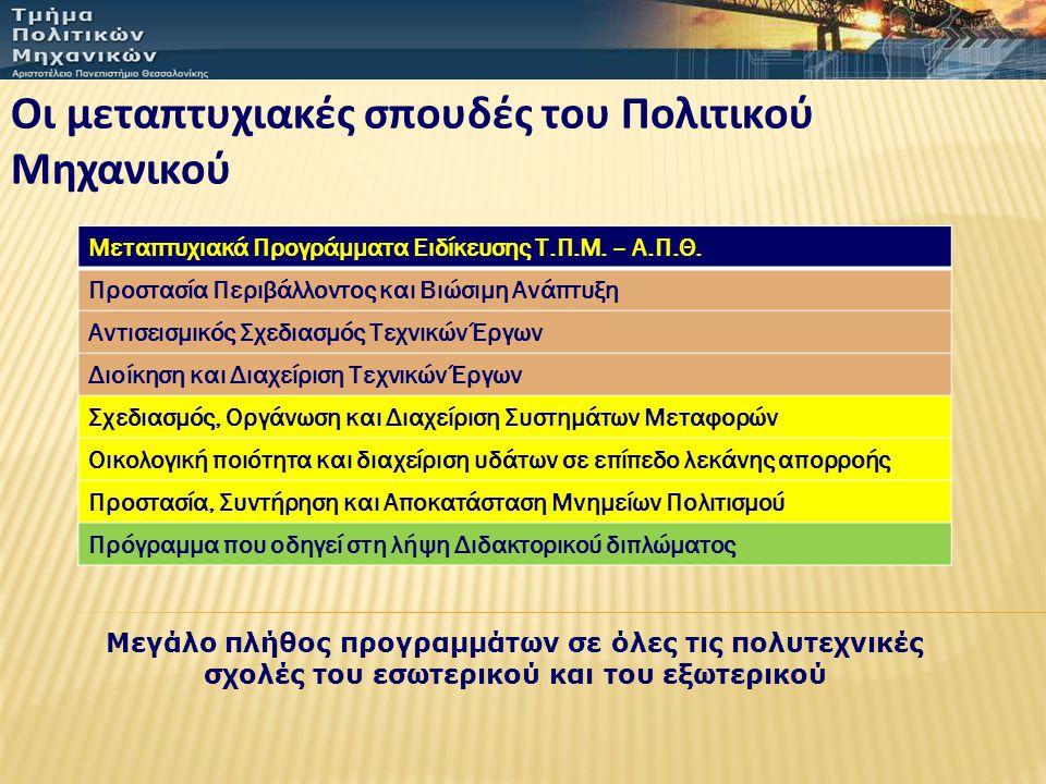 Οι μεταπτυχιακές σπουδές του Πολιτικού Μηχανικού Μεταπτυχιακά Προγράμματα Ειδίκευσης Τ.Π.Μ.