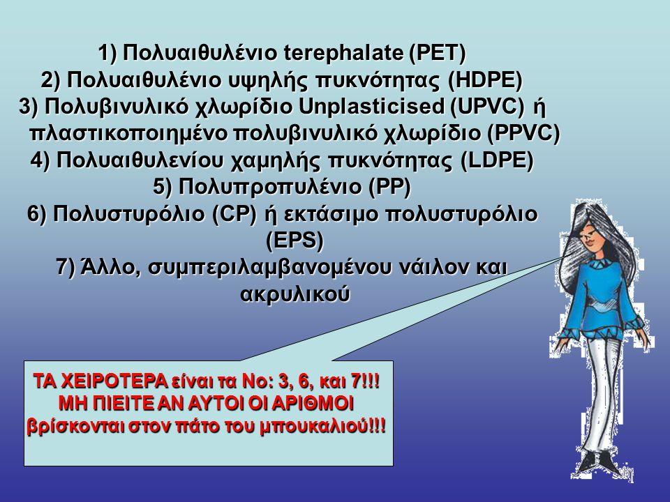 1)Πολυαιθυλένιο terephalate (PET) 2) Πολυαιθυλένιο υψηλής πυκνότητας (HDPE) 3) Πολυβινυλικό χλωρίδιο Unplasticised (UPVC) ή πλαστικοποιημένο πολυβινυλικό χλωρίδιο (PPVC) 4) Πολυαιθυλενίου χαμηλής πυκνότητας (LDPE) 5) Πολυπροπυλένιο (PP) 6) Πολυστυρόλιο (CP) ή εκτάσιμο πολυστυρόλιο (EPS) 7) Άλλο, συμπεριλαμβανομένου νάιλον και ακρυλικού ΤΑ ΧΕΙΡΟΤΕΡΑ είναι τα Νο: 3, 6, και 7!!.