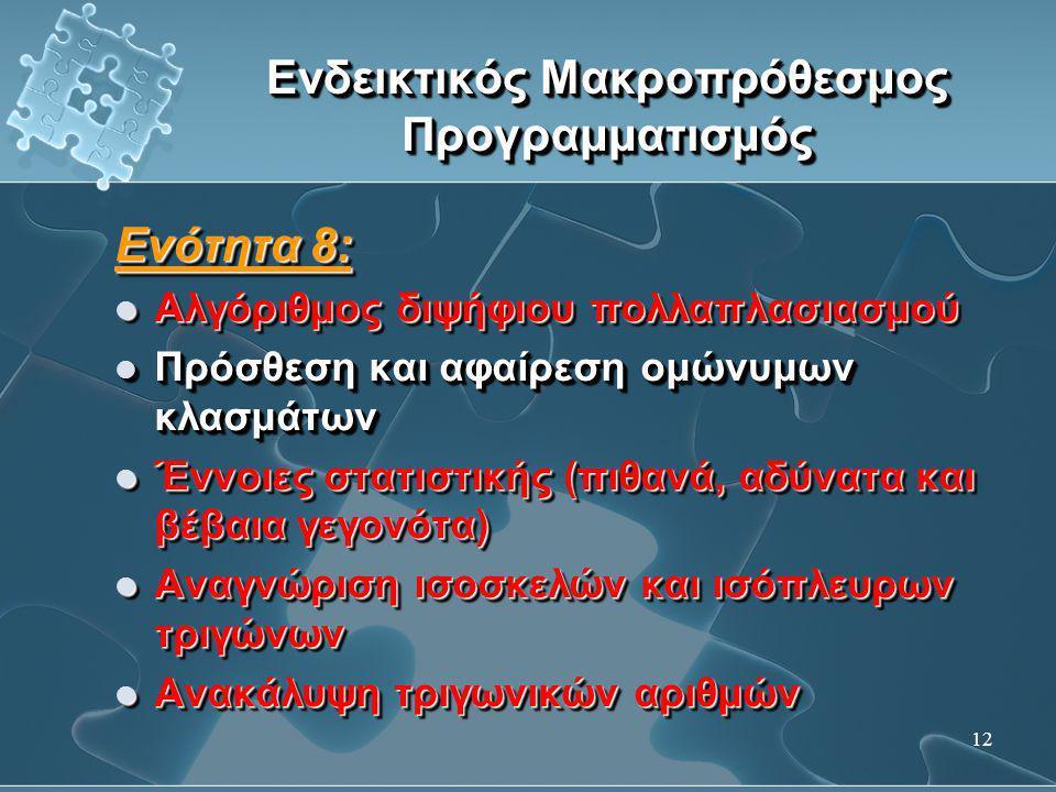 12 Ενδεικτικός Μακροπρόθεσμος Προγραμματισμός Ενότητα 8:  Αλγόριθμος διψήφιου πολλαπλασιασμού  Πρόσθεση και αφαίρεση ομώνυμων κλασμάτων  Έννοιες στ