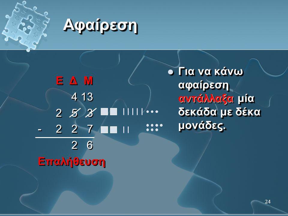 24 ΑφαίρεσηΑφαίρεση Ε Δ Μ 4 13 2 5 3 -2 2 7 2 6 Επαλήθευση Ε Δ Μ 4 13 2 5 3 -2 2 7 2 6 Επαλήθευση  Για να κάνω αφαίρεση αντάλλαξα μία δεκάδα με δέκα