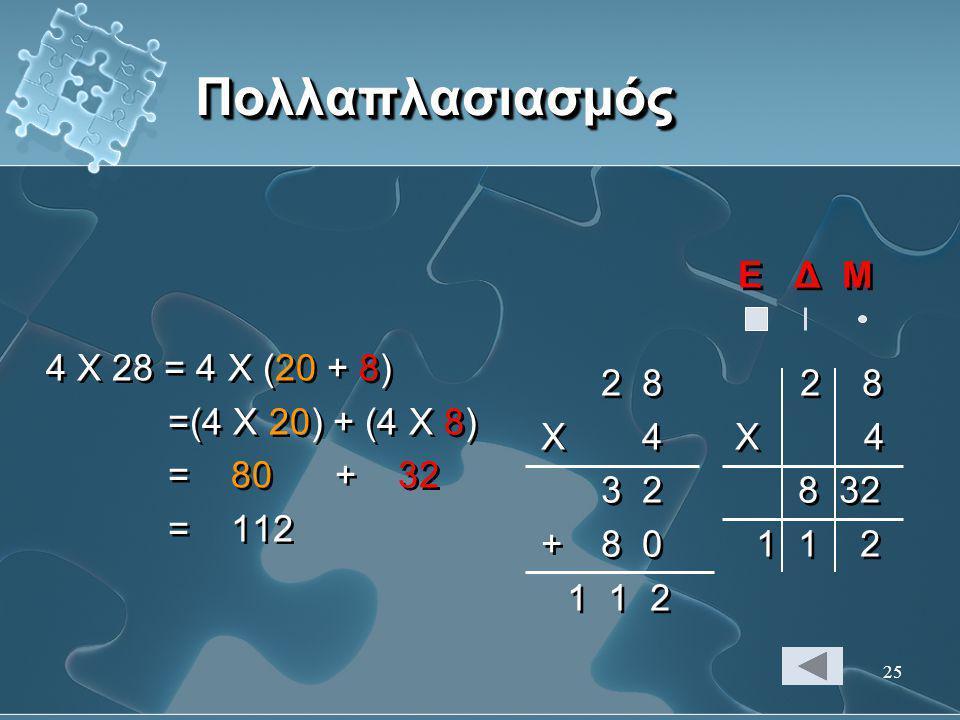 25 ΠολλαπλασιασμόςΠολλαπλασιασμός 4 Χ 28 = 4 Χ (20 + 8) =(4 Χ 20) + (4 Χ 8) = 80 + 32 = 112 4 Χ 28 = 4 Χ (20 + 8) =(4 Χ 20) + (4 Χ 8) = 80 + 32 = 112
