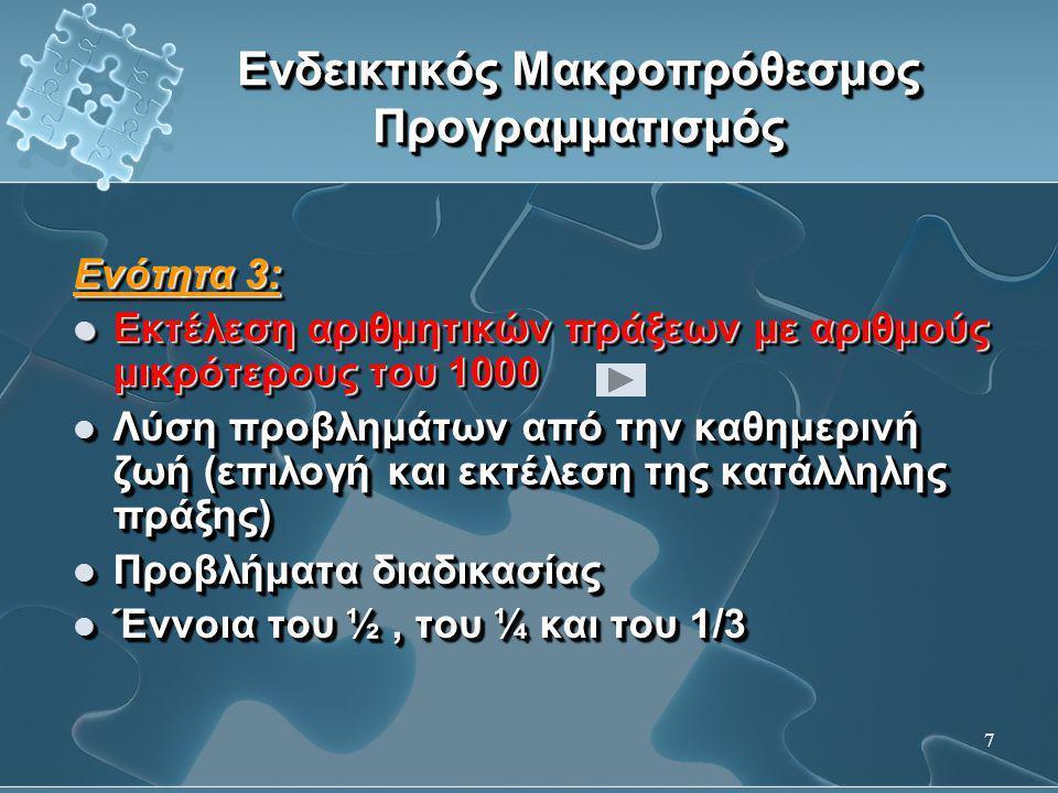 8 Ενδεικτικός Μακροπρόθεσμος Προγραμματισμός Ενότητα 4:  Επιμεριστική ιδιότητα του πολλαπλασιασμού ως προς την πρόσθεση και την αφαίρεση  Εύρεση του γινομένου τριψήφιου με μονοψήφιο αριθμό, χρησιμοποιώντας την ιδιότητα αυτή  Ατελείς διαιρέσεις  Έννοιες που σχετίζονται με το χρόνο  Έννοια του εμβαδού  Συμπλήρωση και κατασκευή μοτίβων Ενότητα 4:  Επιμεριστική ιδιότητα του πολλαπλασιασμού ως προς την πρόσθεση και την αφαίρεση  Εύρεση του γινομένου τριψήφιου με μονοψήφιο αριθμό, χρησιμοποιώντας την ιδιότητα αυτή  Ατελείς διαιρέσεις  Έννοιες που σχετίζονται με το χρόνο  Έννοια του εμβαδού  Συμπλήρωση και κατασκευή μοτίβων