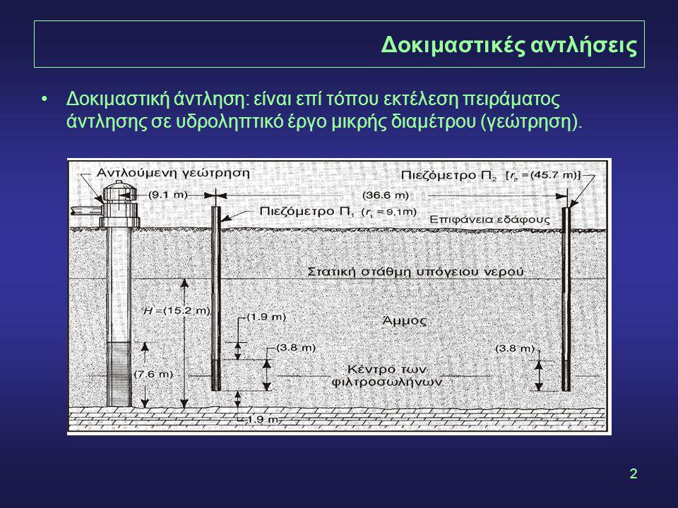 2 Δοκιμαστικές αντλήσεις •Δοκιμαστική άντληση: είναι επί τόπου εκτέλεση πειράματος άντλησης σε υδροληπτικό έργο μικρής διαμέτρου (γεώτρηση).