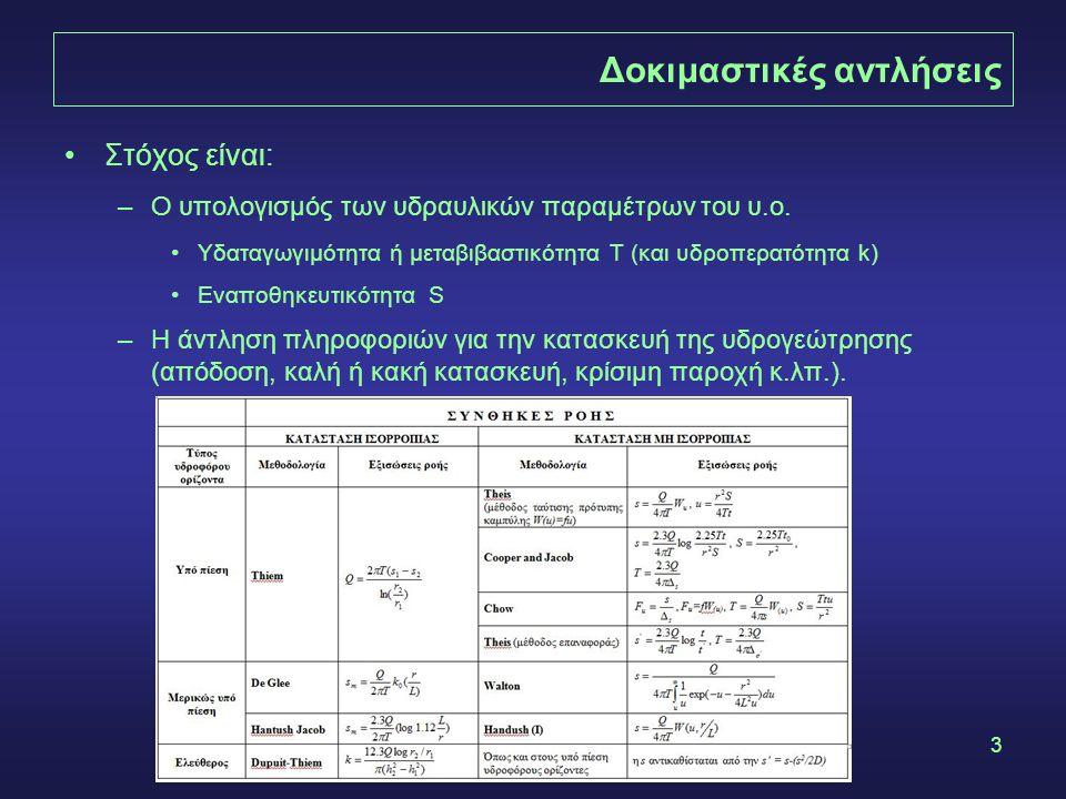 3 Δοκιμαστικές αντλήσεις •Στόχος είναι: –Ο υπολογισμός των υδραυλικών παραμέτρων του υ.ο. •Υδαταγωγιμότητα ή μεταβιβαστικότητα Τ (και υδροπερατότητα k
