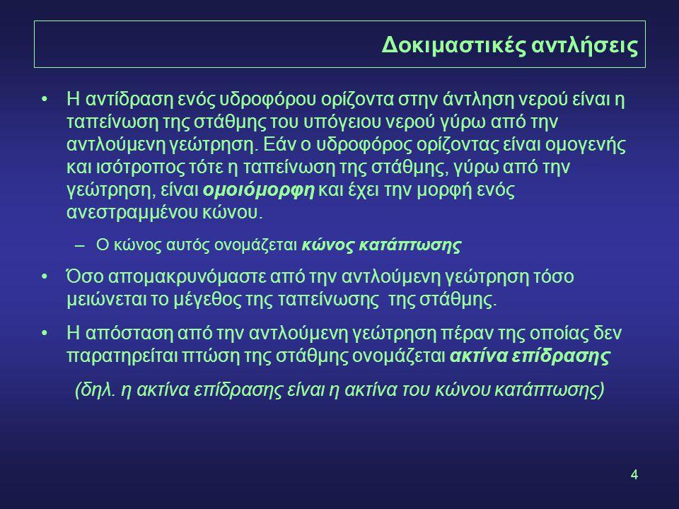 4 Δοκιμαστικές αντλήσεις •Η αντίδραση ενός υδροφόρου ορίζοντα στην άντληση νερού είναι η ταπείνωση της στάθμης του υπόγειου νερού γύρω από την αντλούμ