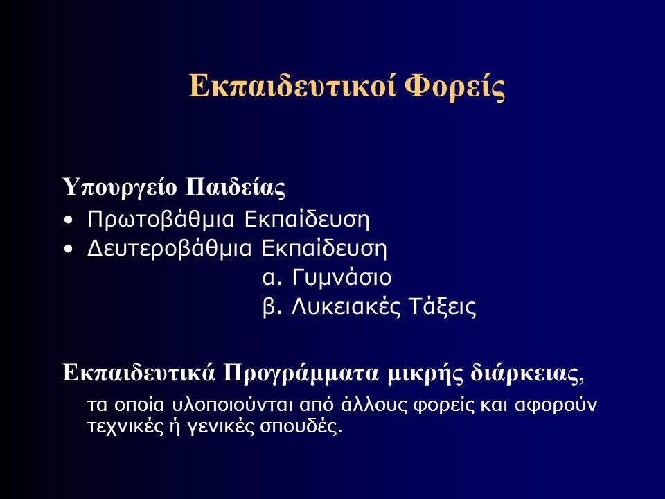 Εκπαιδευτικοί Φορείς Υπουργείο Παιδείας •Πρωτοβάθμια Εκπαίδευση •Δευτεροβάθμια Εκπαίδευση α.