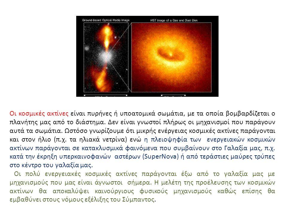 Οι κοσμικές ακτίνες είναι πυρήνες ή υποατομικά σωμάτια, με τα οποία βομβαρδίζεται ο πλανήτης μας από το διάστημα. Δεν είναι γνωστοί πλήρως οι μηχανισμ