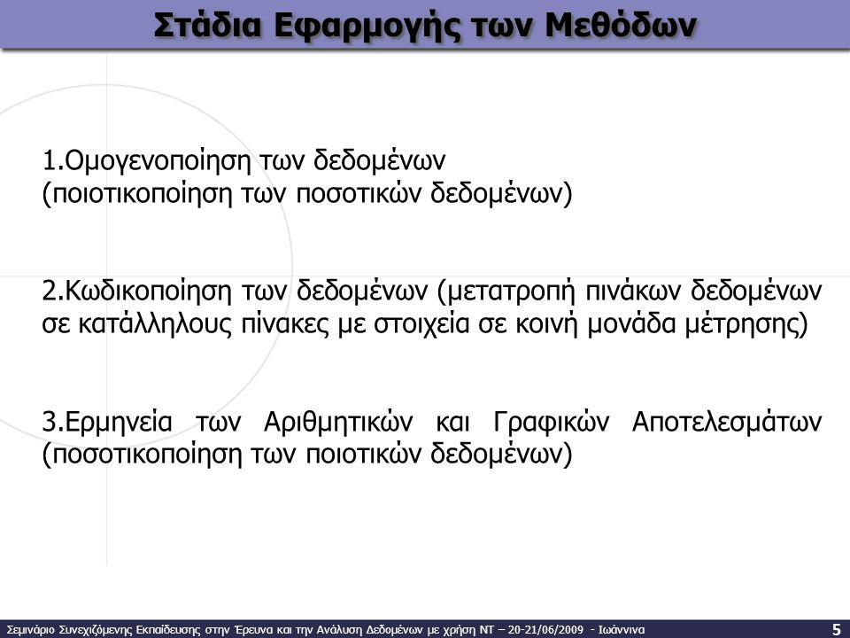 Στάδια Εφαρμογής των Μεθόδων 1.Ομογενοποίηση των δεδομένων (ποιοτικοποίηση των ποσοτικών δεδομένων) 2.Κωδικοποίηση των δεδομένων (μετατροπή πινάκων δεδομένων σε κατάλληλους πίνακες με στοιχεία σε κοινή μονάδα μέτρησης) 3.Ερμηνεία των Αριθμητικών και Γραφικών Αποτελεσμάτων (ποσοτικοποίηση των ποιοτικών δεδομένων) Σεμινάριο Συνεχιζόμενης Εκπαίδευσης στην Έρευνα και την Ανάλυση Δεδομένων με χρήση ΝΤ – 20-21/06/2009 - Ιωάννινα 5
