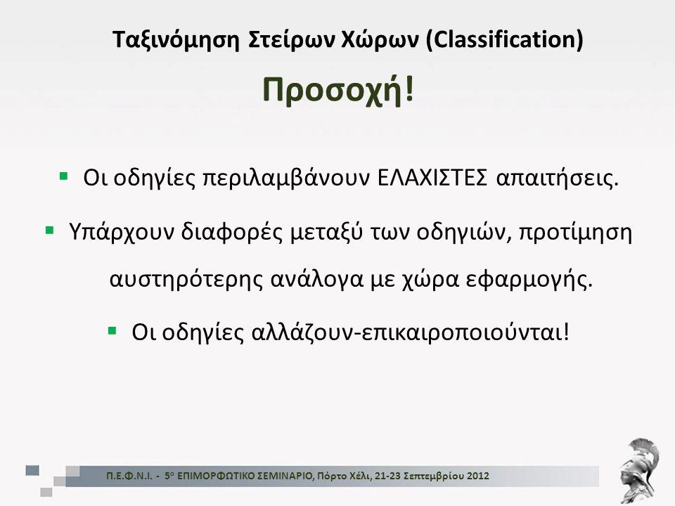 Προσοχή! Ταξινόμηση Στείρων Χώρων (Classification)  Οι οδηγίες περιλαμβάνουν ΕΛΑΧΙΣΤΕΣ απαιτήσεις.  Υπάρχουν διαφορές μεταξύ των οδηγιών, προτίμηση