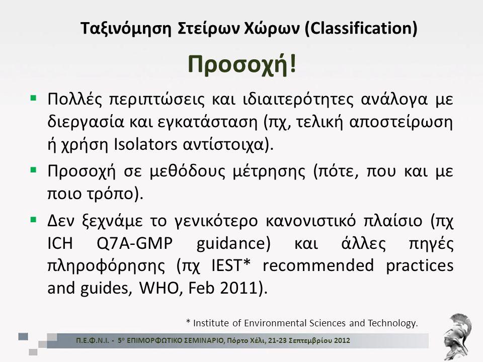 Προσοχή! Ταξινόμηση Στείρων Χώρων (Classification)  Πολλές περιπτώσεις και ιδιαιτερότητες ανάλογα με διεργασία και εγκατάσταση (πχ, τελική αποστείρωσ