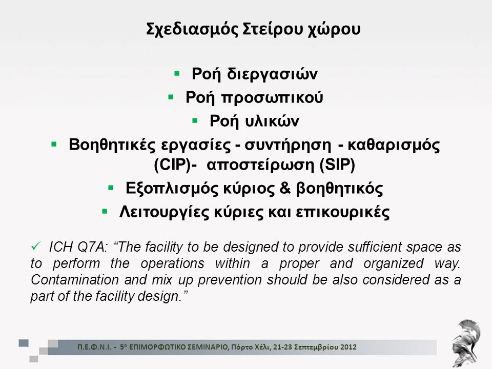  Ροή διεργασιών  Ροή προσωπικού  Ροή υλικών  Βοηθητικές εργασίες - συντήρηση - καθαρισμός (CIP)- αποστείρωση (SIP)  Εξοπλισμός κύριος & βοηθητικό
