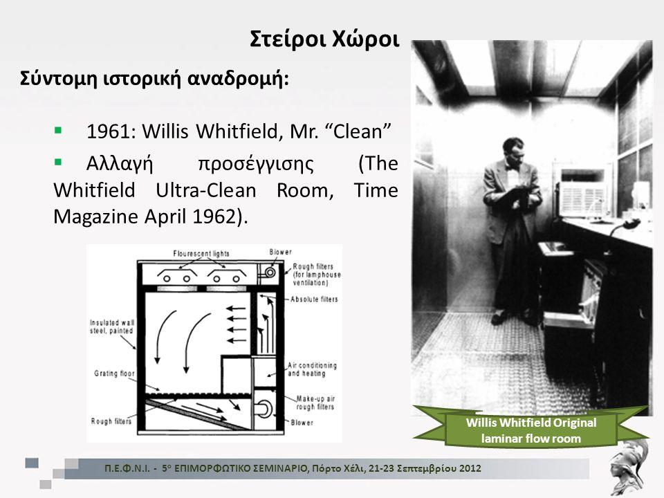 """Στείροι Χώροι Σύντομη ιστορική αναδρομή:  1961: Willis Whitfield, Mr. """"Clean""""  Αλλαγή προσέγγισης (The Whitfield Ultra-Clean Room, Time Magazine Apr"""