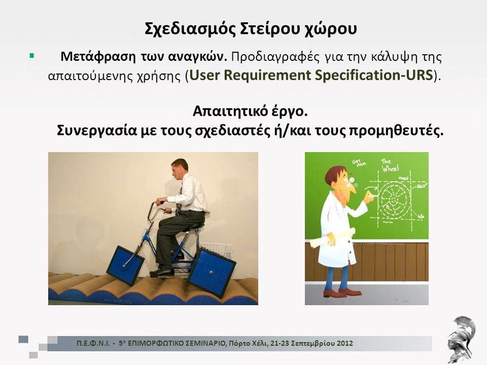 Π.Ε.Φ.Ν.Ι. - 5 ο ΕΠΙΜΟΡΦΩΤΙΚΟ ΣΕΜΙΝΑΡΙΟ, Πόρτο Χέλι, 21-23 Σεπτεμβρίου 2012 Σχεδιασμός Στείρου χώρου  Μετάφραση των αναγκών. Προδιαγραφές για την κάλ