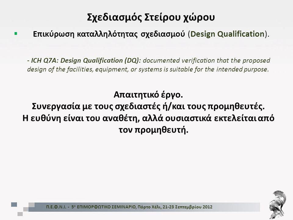 Π.Ε.Φ.Ν.Ι. - 5 ο ΕΠΙΜΟΡΦΩΤΙΚΟ ΣΕΜΙΝΑΡΙΟ, Πόρτο Χέλι, 21-23 Σεπτεμβρίου 2012 Σχεδιασμός Στείρου χώρου  Επικύρωση καταλληλότητας σχεδιασμού (Design Qua