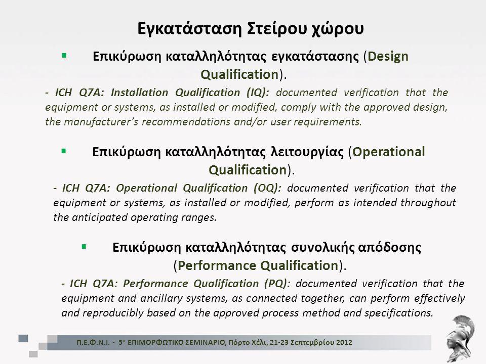 Π.Ε.Φ.Ν.Ι. - 5 ο ΕΠΙΜΟΡΦΩΤΙΚΟ ΣΕΜΙΝΑΡΙΟ, Πόρτο Χέλι, 21-23 Σεπτεμβρίου 2012 Εγκατάσταση Στείρου χώρου  Επικύρωση καταλληλότητας εγκατάστασης (Design
