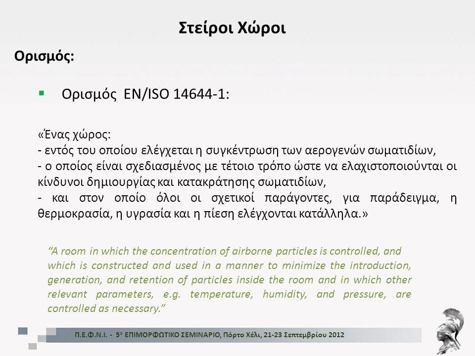 FDA - Guidance for Industry, Sterile Drug Products Produced by Aseptic Processing - Current Good Manufacturing Practice, Sep 2004 Όρια αριθμού σωματιδίων και μικροβιακής επιμόλυνσης Ταξινόμηση Στείρων Χώρων (Classification) Κατάταξη (Σωματίδια 0,5 μm/ft 3 ) Συσχέτιση με ISO 14644-1 Σωματίδια ≥ 0,5 μm/m 3 Μικροβιολογι- κό δείγμα αέρα (cfu/m 3 ) Πλάκες καθιζήσεως (διαμ.90 mm) CFU/4ώρες)** 10053 520 1* 1000635 20073 10 0007352 000105 100 00083 520 00010050 (*) Τα δείγματα σε αυτή τη βαθμίδα πρέπει να εμφανίζουν μηδενικό μικροβιακό φορτίο.