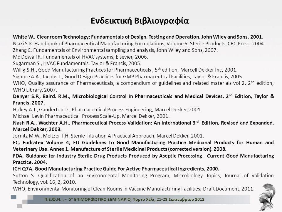 Ενδεικτική Βιβλιογραφία Π.Ε.Φ.Ν.Ι. - 5 ο ΕΠΙΜΟΡΦΩΤΙΚΟ ΣΕΜΙΝΑΡΙΟ, Πόρτο Χέλι, 21-23 Σεπτεμβρίου 2012 White W., Cleanroom Technology: Fundamentals of De