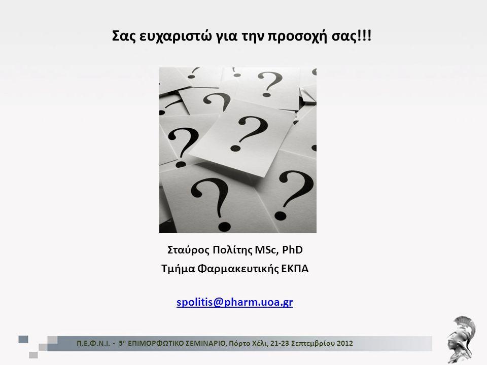 Σας ευχαριστώ για την προσοχή σας!!! Π.Ε.Φ.Ν.Ι. - 5 ο ΕΠΙΜΟΡΦΩΤΙΚΟ ΣΕΜΙΝΑΡΙΟ, Πόρτο Χέλι, 21-23 Σεπτεμβρίου 2012 Σταύρος Πολίτης MSc, PhD Τμήμα Φαρμακ