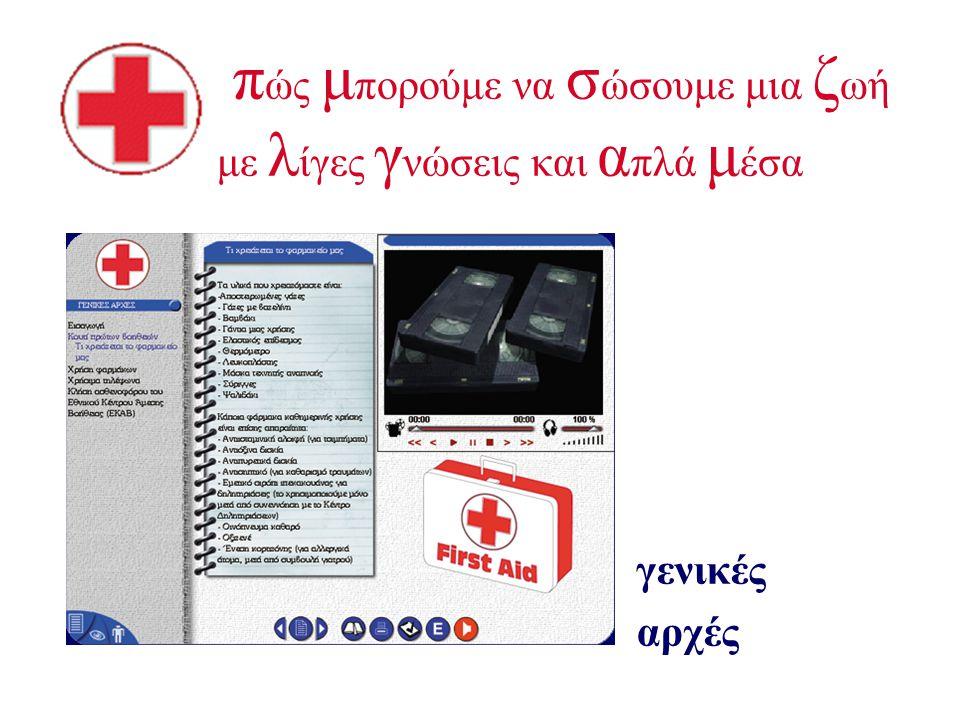 ο ι π ρώτες β οήθειες με απλά λόγια, εικόνες και βίντεο Εύκολη πλοήγηση που διασφαλίζει άμεση πρόσβαση στην πληροφορία αλφαβητικό ευρετήριο όλων των θ