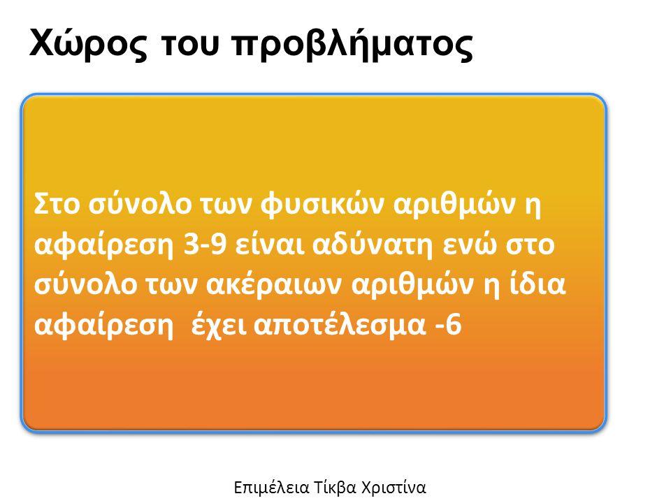 Στο σύνολο των φυσικών αριθμών η αφαίρεση 3-9 είναι αδύνατη ενώ στο σύνολο των ακέραιων αριθμών η ίδια αφαίρεση έχει αποτέλεσμα -6 Χώρος του προβλήματος Eπιμέλεια Τίκβα Χριστίνα