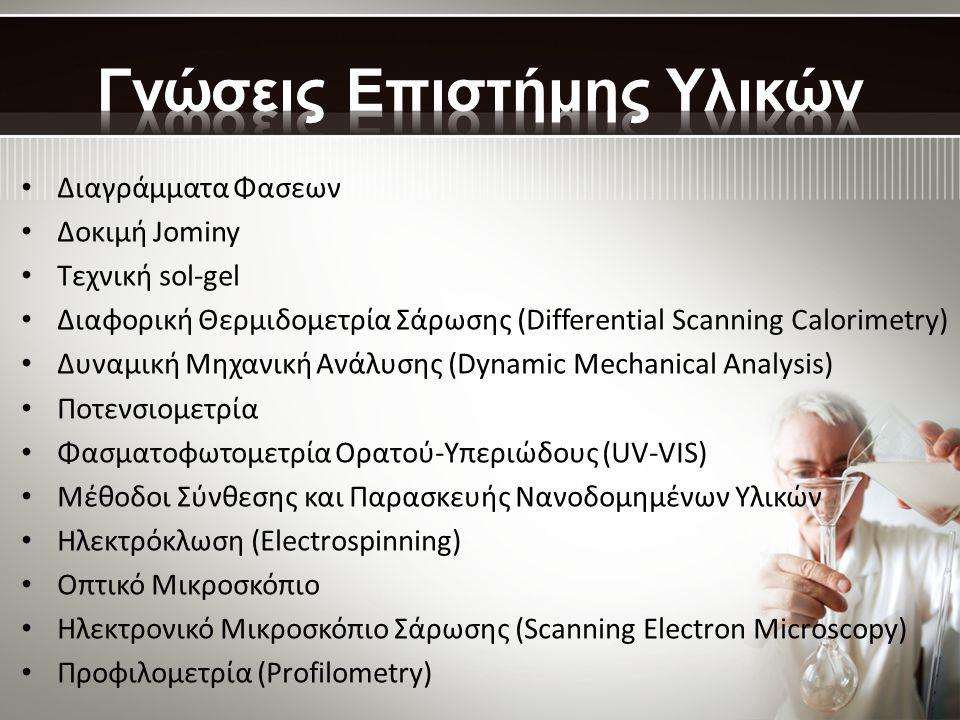 • Διαγράμματα Φασεων • Δοκιμή Jominy • Τεχνική sol-gel • Διαφορική Θερμιδομετρία Σάρωσης (Differential Scanning Calorimetry) • Δυναμική Μηχανική Ανάλυσης (Dynamic Mechanical Analysis) • Ποτενσιομετρία • Φασματοφωτομετρία Ορατού-Υπεριώδους (UV-VIS) • Μέθοδοι Σύνθεσης και Παρασκευής Νανοδομημένων Υλικών • Ηλεκτρόκλωση (Electrospinning) • Οπτικό Μικροσκόπιο • Ηλεκτρονικό Μικροσκόπιο Σάρωσης (Scanning Electron Microscopy) • Προφιλομετρία (Profilometry)