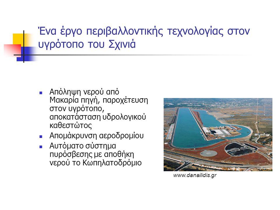 Ένα έργο περιβαλλοντικής τεχνολογίας στον υγρότοπο του Σχινιά  Απόληψη νερού από Μακαρία πηγή, παροχέτευση στον υγρότοπο, αποκατάσταση υδρολογικού καθεστώτος  Απομάκρυνση αεροδρομίου  Αυτόματο σύστημα πυρόσβεσης με αποθήκη νερού το Κωπηλατοδρόμιο www.danailidis.gr