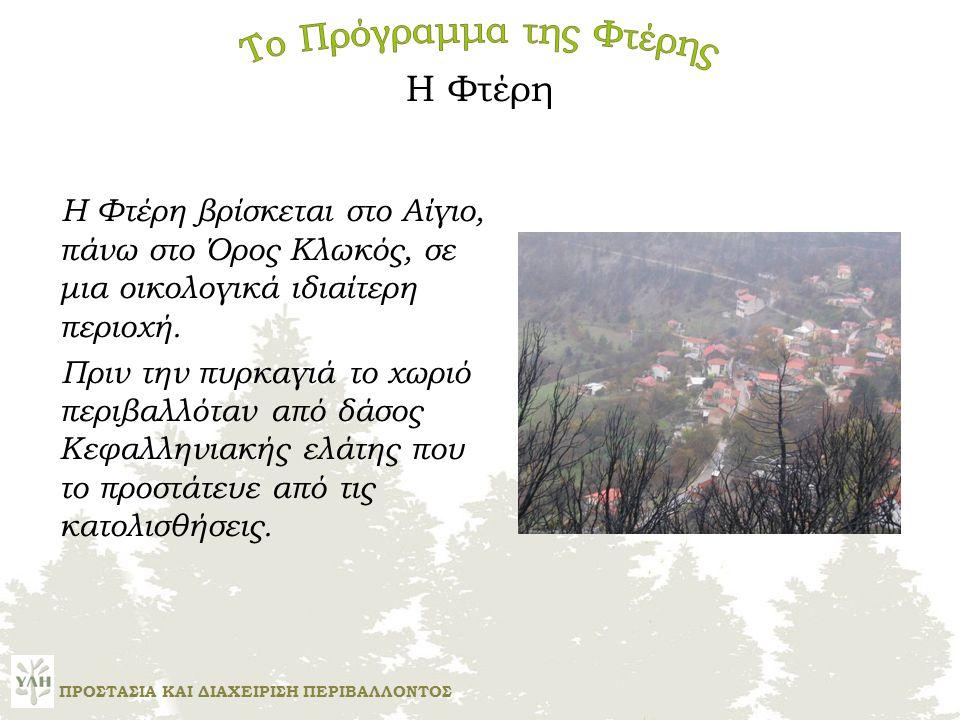 Η Φτέρη Η Φτέρη βρίσκεται στο Αίγιο, πάνω στο Όρος Κλωκός, σε μια οικολογικά ιδιαίτερη περιοχή.