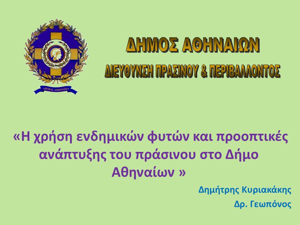 Το πρόβλημα «Η χρήση ενδημικών φυτών και προοπτικές ανάπτυξης του πράσινου στο Δήμο Αθηναίων»