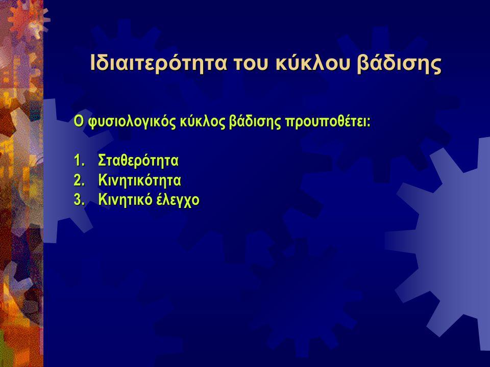 Ιδιαιτερότητα του κύκλου βάδισης Ο φυσιολογικός κύκλος βάδισης προυποθέτει: 1.Σταθερότητα 2.Κινητικότητα 3.Κινητικό έλεγχο