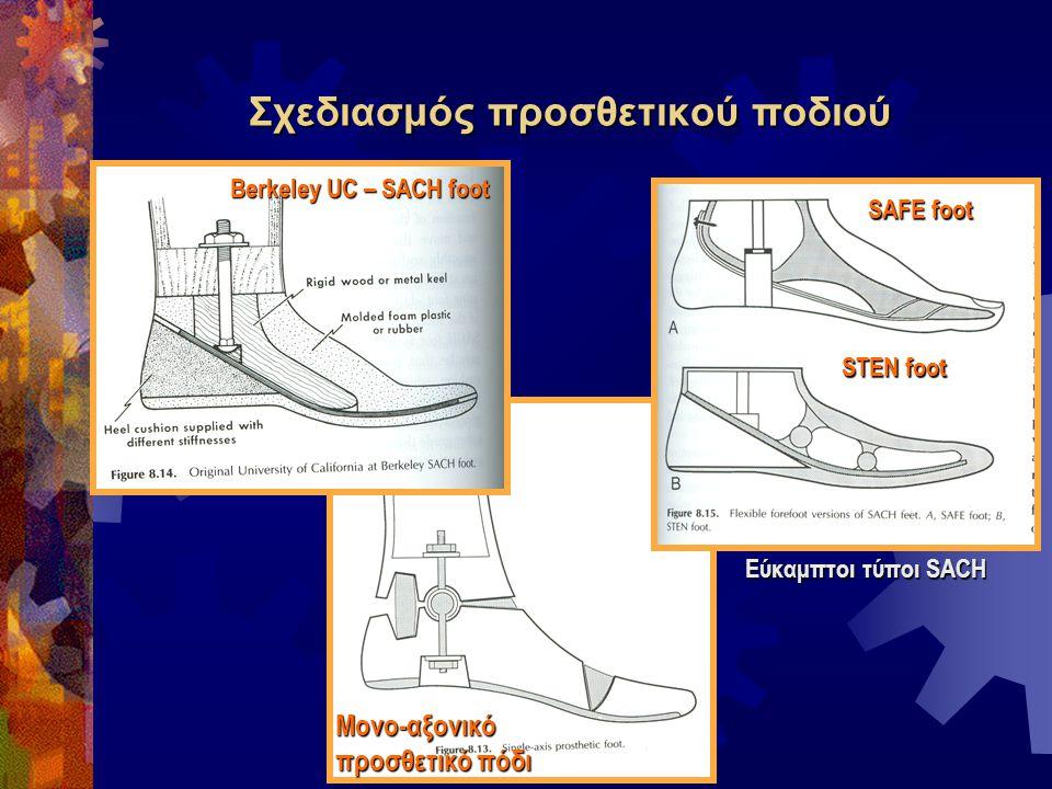 Σχεδιασμός προσθετικού ποδιού Μονο-αξονικό προσθετικό πόδι Berkeley UC – SACH foot Εύκαμπτοι τύποι SACH SAFE foot STEN foot