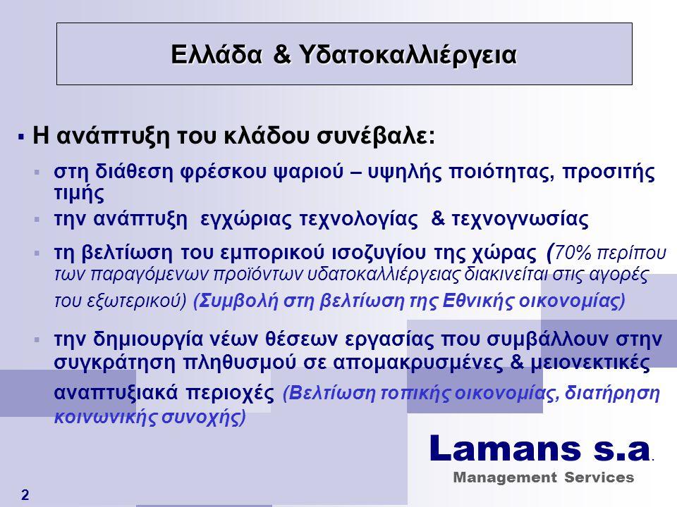 Η 'ταυτότητα' της Ελληνικής ιχθυοκαλλέργειας 3 ΕΤΑΙΡΕΙΕΣ ΙΧΘΥΟΚΑΛΛΙΕΡΓΕΙΑΣΣΤΟΙΧΕΙΑ ΕΝΕΡΓΕΣ125 εταιρείες ΑΠΑΣΧΟΛΗΣΗ (άμεση)9.500 εργαζόμενοι ΚΥΚΛΟΣ ΕΡΓΑΣΙΩΝ€ 460.000.000 ΕΞΑΓΩΓΕΣ€ 340.000.000 ΕΤΑΙΡΕΙΕΣ ΕΙΣΗΓΜΕΝΕΣ ΣΤΟ Χ.Α.Α.8 με ΚΕΦΑΛΑΙΟΠΟΙΗΣΗ€ 575.000.000 και ΜΕΤΟΧΟΥΣ38.000 ΜΟΝΑΔΕΣ ΕΚΤΡΟΦΗΣΣΤΟΙΧΕΙΑ ΕΝΕΡΓΕΣ (σε λειτουργία)315 άδειες ΘΑΛΑΣΣΙΑ ΕΚΤΑΣΗ7,8 χλμ 2 Lamans s.a.