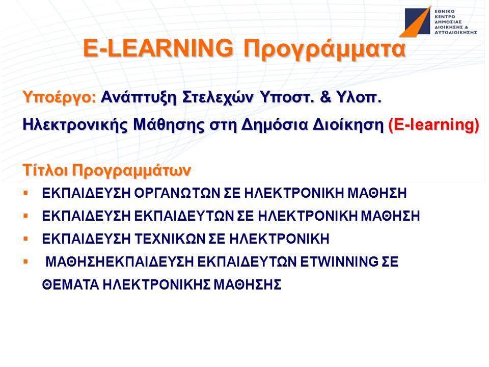 E-LEARNING Προγράμματα Υποέργο: Ανάπτυξη Στελεχών Υποστ. & Υλοπ. Ηλεκτρονικής Μάθησης στη Δημόσια Διοίκηση (E-learning) Τίτλοι Προγραμμάτων   ΕΚΠΑΙΔ