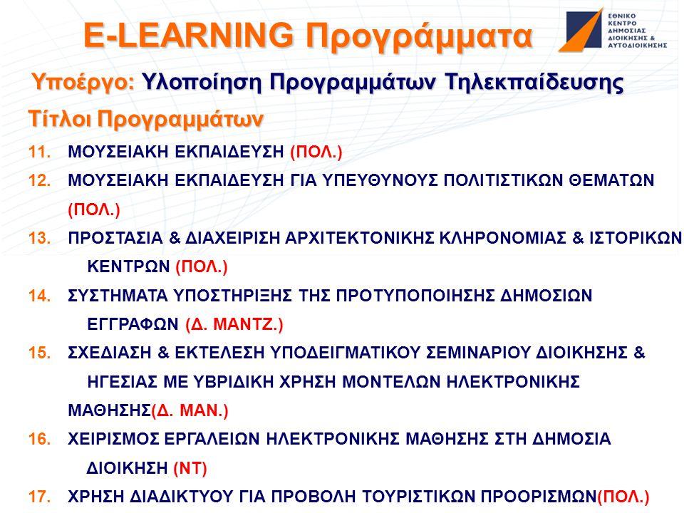 E-LEARNING Προγράμματα Υποέργο: Υλοποίηση Προγραμμάτων Τηλεκπαίδευσης Τίτλοι Προγραμμάτων 11. 11.ΜΟΥΣΕΙΑΚΗ ΕΚΠΑΙΔΕΥΣΗ (ΠΟΛ.) 12. 12.ΜΟΥΣΕΙΑΚΗ ΕΚΠΑΙΔΕΥ