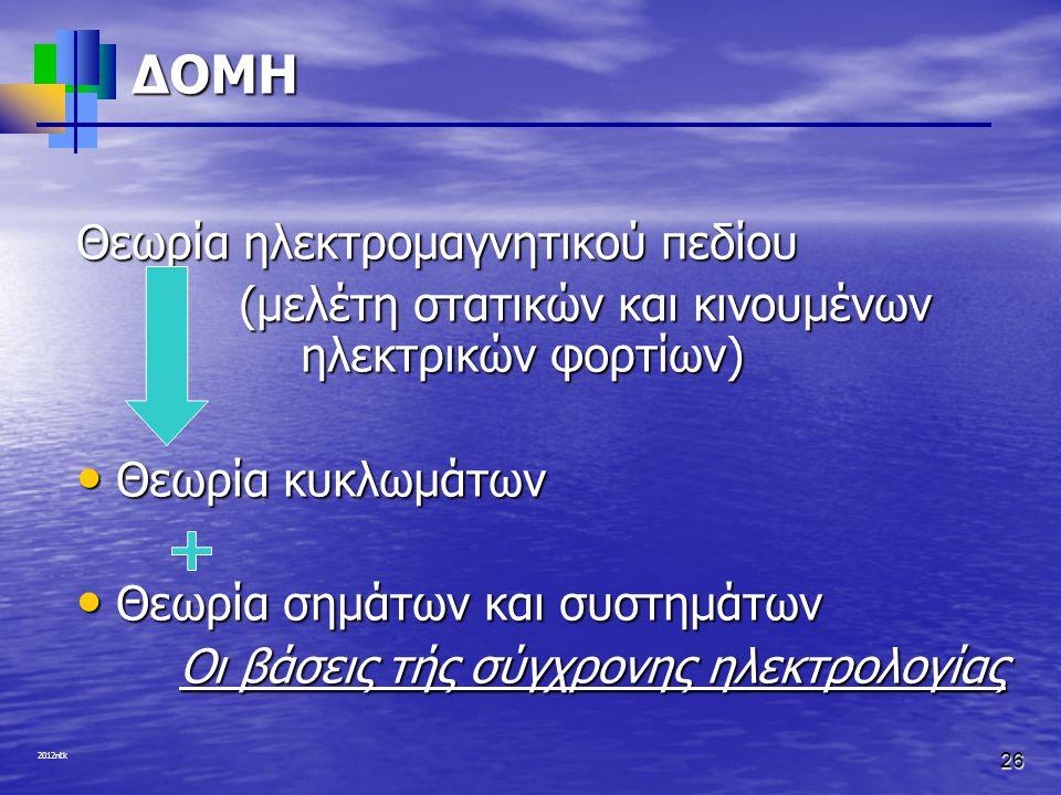 2012ntk 26 ΔΟΜΗ Θεωρία ηλεκτρομαγνητικού πεδίου (μελέτη στατικών και κινουμένων ηλεκτρικών φορτίων) (μελέτη στατικών και κινουμένων ηλεκτρικών φορτίων