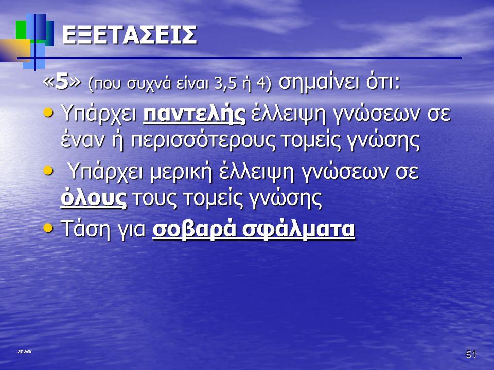 2012ntk 51 ΕΞΕΤΑΣΕΙΣ «5» (που συχνά είναι 3,5 ή 4) σημαίνει ότι: • Υπάρχει παντελής έλλειψη γνώσεων σε έναν ή περισσότερους τομείς γνώσης • Υπάρχει με
