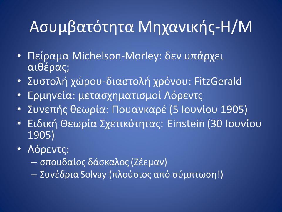 Ασυμβατότητα Μηχανικής-Η/Μ • Πείραμα Michelson-Morley: δεν υπάρχει αιθέρας; • Συστολή χώρου-διαστολή χρόνου: FitzGerald • Ερμηνεία: μετασχηματισμοί Λόρεντς • Συνεπής θεωρία: Πουανκαρέ (5 Ιουνίου 1905) • Eιδική Θεωρία Σχετικότητας: Εinstein (30 Ιουνίου 1905) • Λόρεντς: – σπουδαίος δάσκαλος (Ζέεμαν) – Συνέδρια Solvay (πλούσιος από σύμπτωση!)