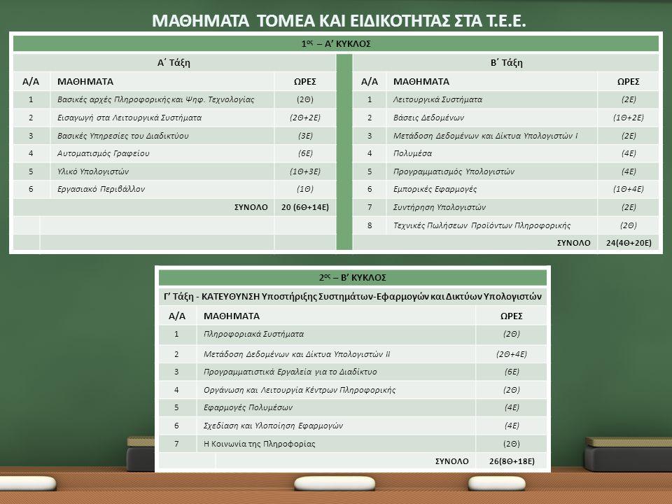 ΕΠΑ.Λ. ΕΠΑΓΓΕΛΜΑΤΙΚΑ ΛΥΚΕΙΑ Τομέας Πληροφορικής
