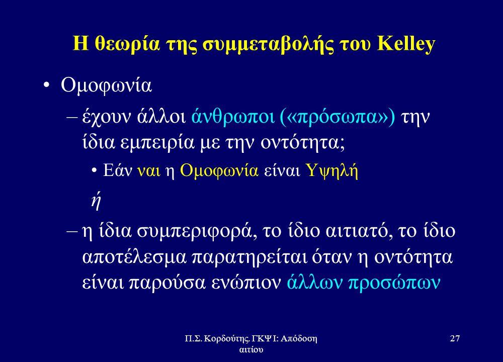 Π.Σ. Κορδούτης. ΓΚΨ Ι: Απόδοση αιτίου 26 Η θεωρία της συμμεταβολής του Kelley