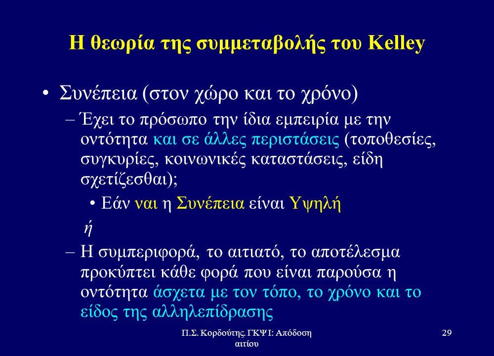 Π.Σ. Κορδούτης. ΓΚΨ Ι: Απόδοση αιτίου 28 Η θεωρία της συμμεταβολής του Κelley •Διακριτότητα –έχει το πρόσωπο την ίδια εμπειρία με τη παρουσία άλλων ον