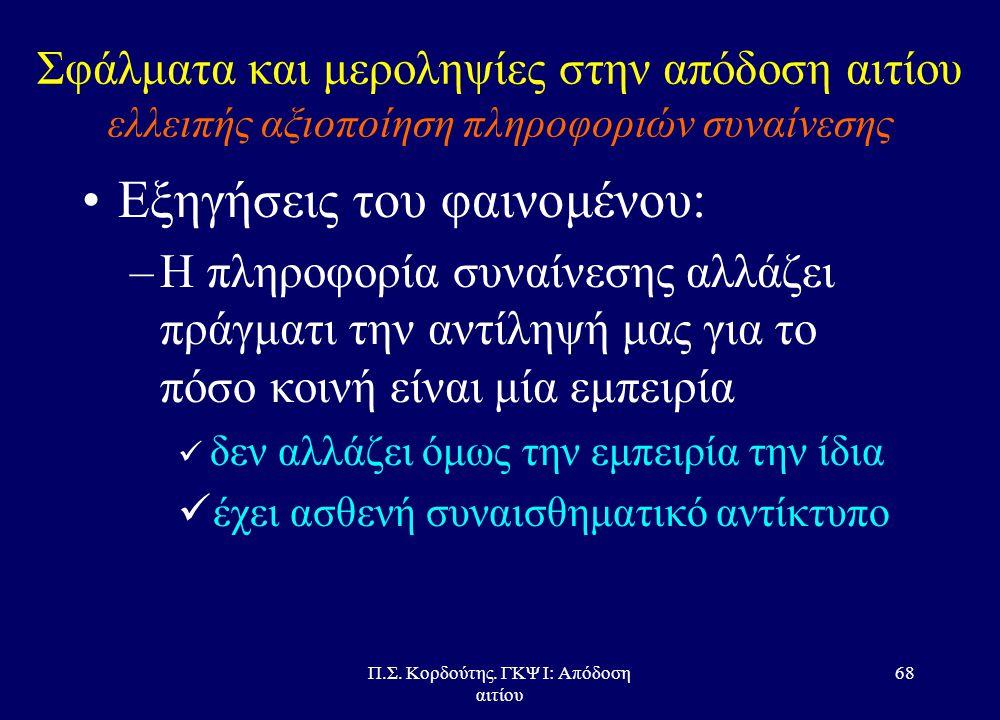 Π.Σ. Κορδούτης. ΓΚΨ Ι: Απόδοση αιτίου 67 Σφάλματα και μεροληψίες στην απόδοση αιτίου ελλειπής αξιοποίηση πληροφοριών συναίνεσης •Τι είναι πληροφορίες