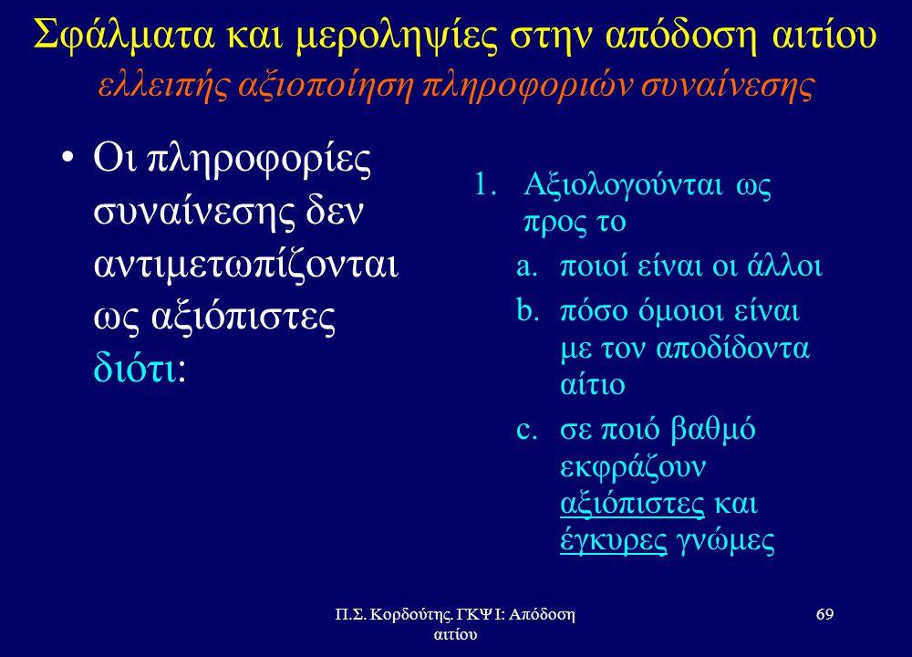 Π.Σ. Κορδούτης. ΓΚΨ Ι: Απόδοση αιτίου 68 Σφάλματα και μεροληψίες στην απόδοση αιτίου ελλειπής αξιοποίηση πληροφοριών συναίνεσης •Εξηγήσεις του φαινομέ