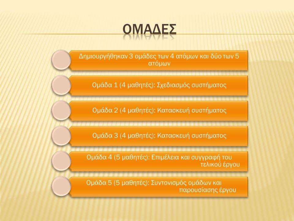 Δημιουργήθηκαν 3 ομάδες των 4 ατόμων και δύο των 5 ατόμων Ομάδα 1 (4 μαθητές): Σχεδιασμός συστήματος Ομάδα 2 (4 μαθητές): Κατασκευή συστήματος Ομάδα 3 (4 μαθητές): Κατασκευή συστήματος Ομάδα 4 (5 μαθητές): Επιμέλεια και συγγραφή του τελικού έργου Ομάδα 5 (5 μαθητές): Συντονισμός ομάδων και παρουσίασης έργου