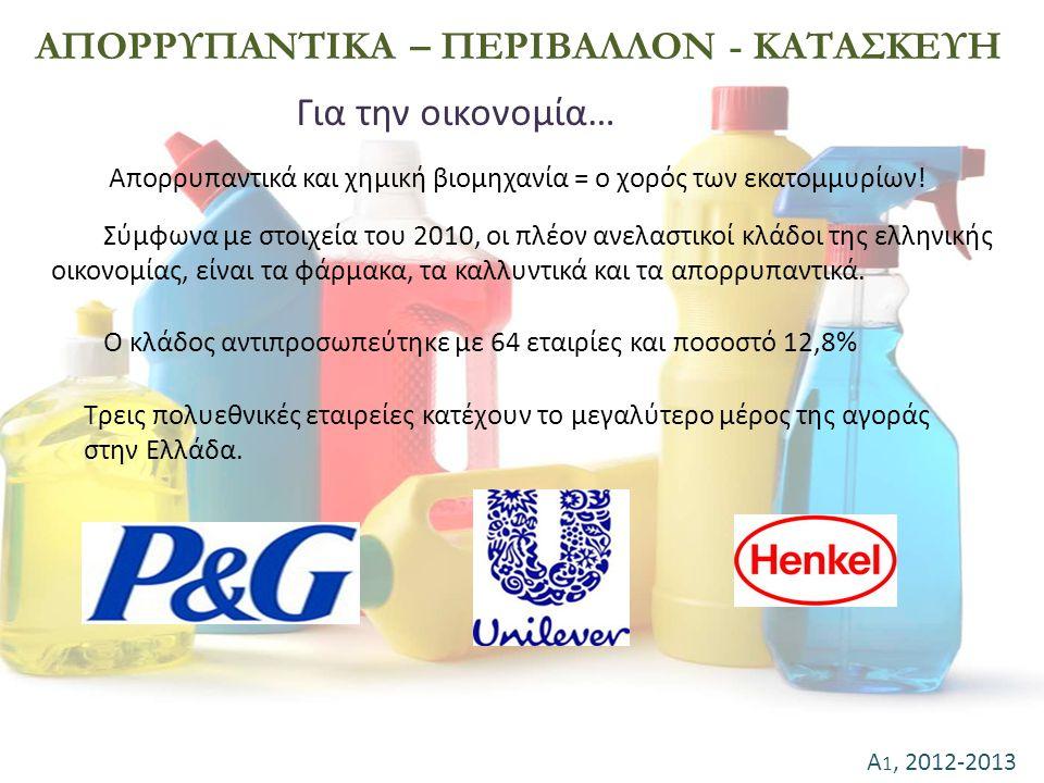 Α 1, 2012-2013 ΑΠΟΡΡΥΠΑΝΤΙΚΑ – ΠΕΡΙΒΑΛΛΟΝ - ΚΑΤΑΣΚΕΥΗ Για την οικονομία… Απορρυπαντικά και χημική βιομηχανία = ο χορός των εκατομμυρίων! Ο κλάδος αντι