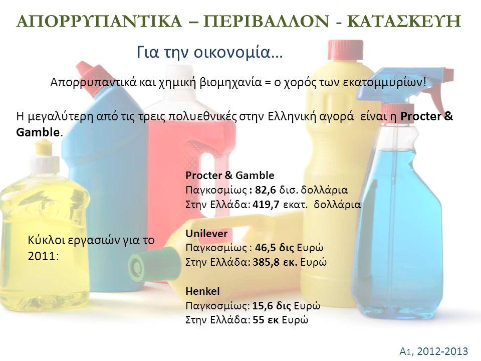 Α 1, 2012-2013 ΑΠΟΡΡΥΠΑΝΤΙΚΑ – ΠΕΡΙΒΑΛΛΟΝ - ΚΑΤΑΣΚΕΥΗ Για την οικονομία… Η μεγαλύτερη από τις τρεις πολυεθνικές στην Ελληνική αγορά είναι η Procter &