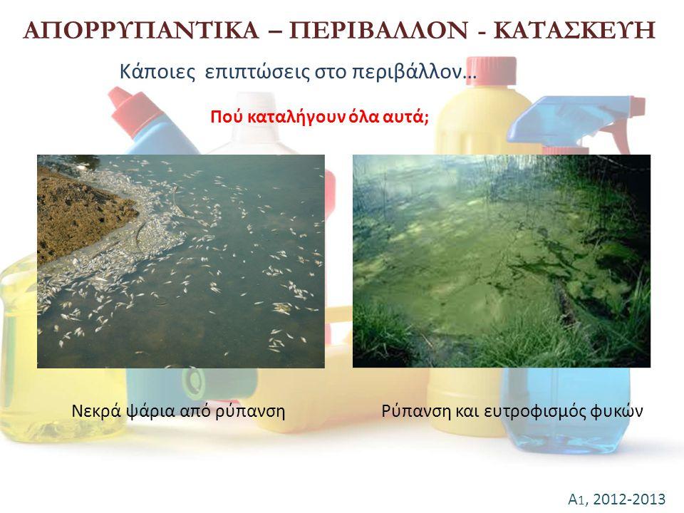 Α 1, 2012-2013 ΑΠΟΡΡΥΠΑΝΤΙΚΑ – ΠΕΡΙΒΑΛΛΟΝ - ΚΑΤΑΣΚΕΥΗ Πού καταλήγουν όλα αυτά; Κάποιες επιπτώσεις στο περιβάλλον… Νεκρά ψάρια από ρύπανσηΡύπανση και ε